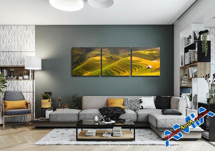 Ngắm nghía mẫu nội thất sofa phòng khách đẹp kèm tranh 3 tấm