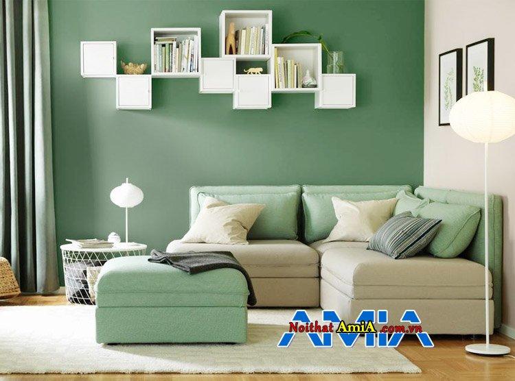 Sofa da nỉ đẹp màu xanh kê phòng khách nhỏ