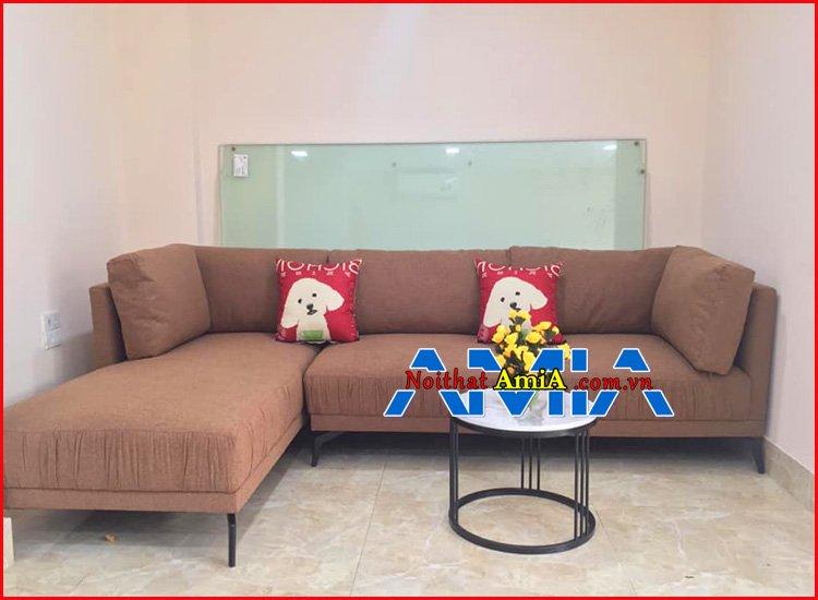 Hình ảnh ghế sofa góc màu nâu đất đẹp