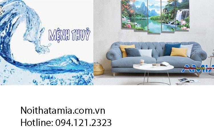 Sofa màu xanh da trời cho hành Thủy
