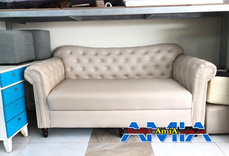 Sofa da phòng khách tân cổ điển