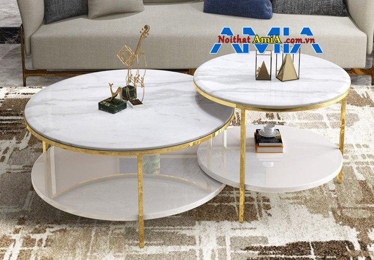 Mẫu bàn trà tròn đôi hiện đại kết hợp sofa chung cư