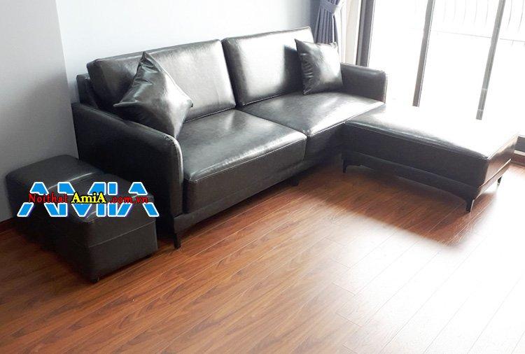 Ghế sofa da phòng khách chung cư nhỏ căn hộ Việt Đức Complex