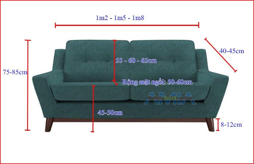Hình ảnh kích thước sofa 2 chỗ ngồi tham khảo