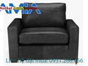 Sofa da đơn màu đen hiện đại sang trọng AmiA SFD1911536