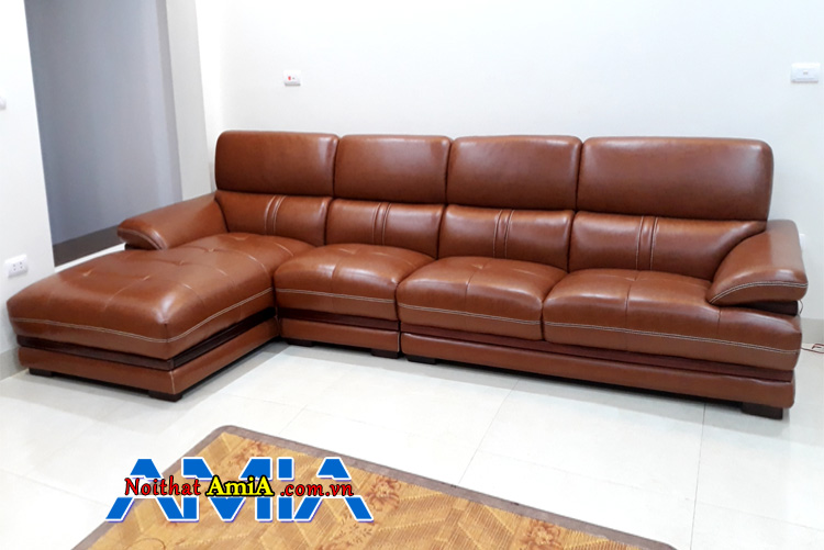 Sofa phòng khách biệt thự AmiA SFD204 được thiết kế dạng góc chữ L màu da bò hiện đại