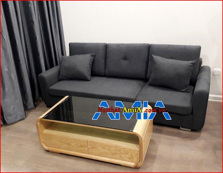 Hình ảnh ghế sofa văng 2m kết hợp bàn trà gỗ kính đẹp