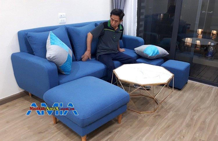 Mẫu ghế sofa văng nỉ đệm êm 3 lớp mút