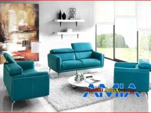 Ảnh bộ ghế sofa da phòng khách đẹp màu xanh ngọc bích