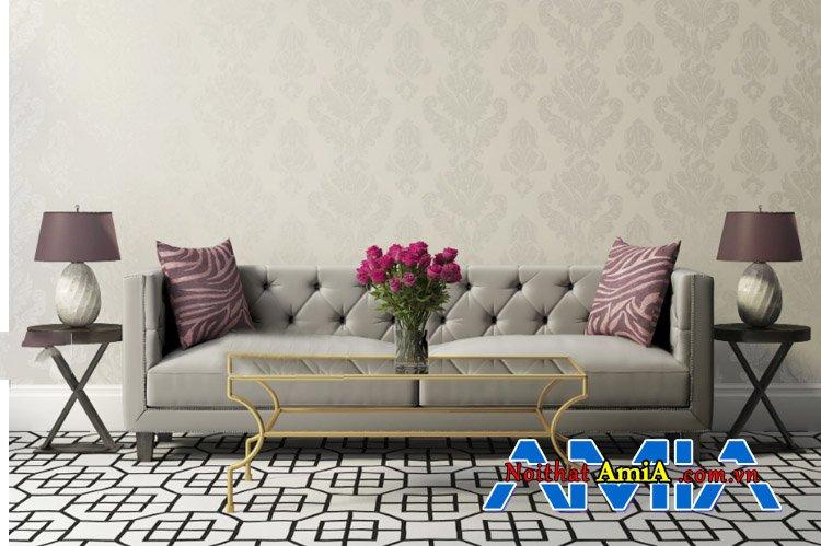 Hình ảnh ghế sofa đẹp thiết kế dạng văng 2 chỗ ngồi màu xám