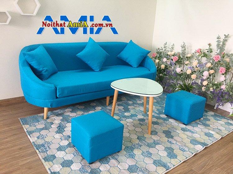 Hình ảnh ghế sofa văng đẹp màu xanh giá rẻ 6 triệu