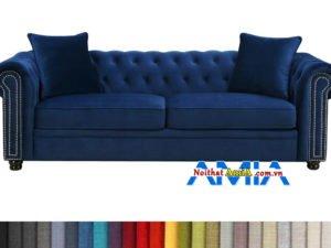 Ghế sofa văng tân cỏ điển màu xanh dương đẹp AmiA SFN199236