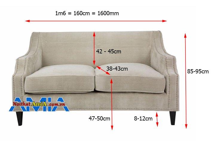 Kích thước sofa 2 chỗ 1m6 theo tiêu chuẩn