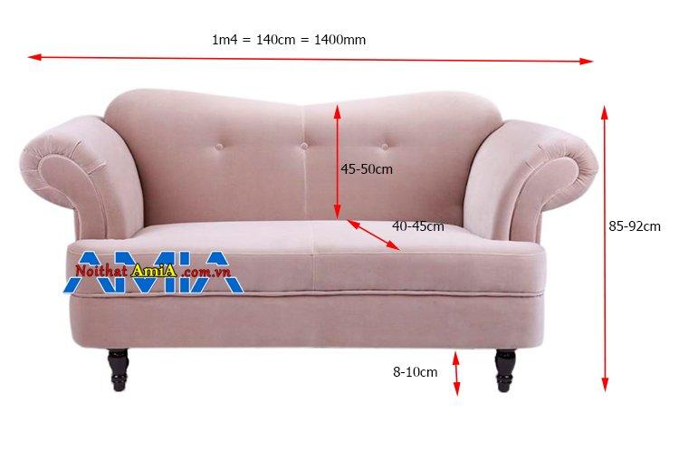 Kích thước sofa mini 2 chỗ 1m4 cho phòng ngủ nhỏ xinh