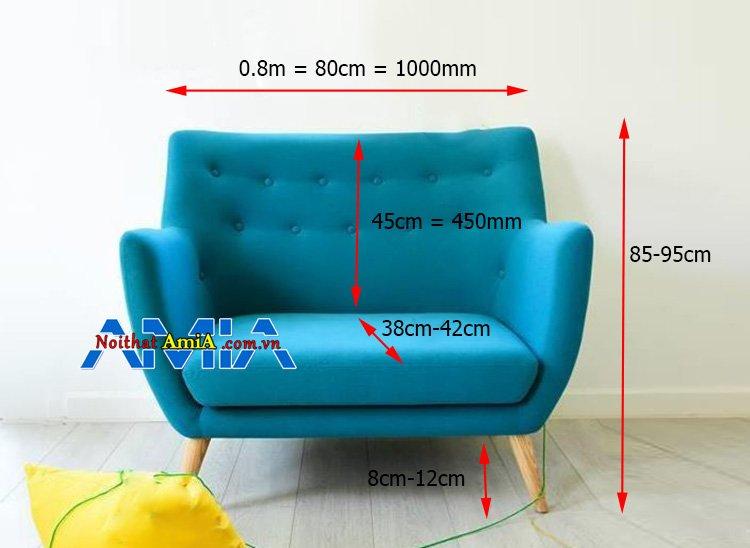 Kích thước sofa mini 80cm theo tiêu chuẩn