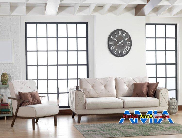 Mẫu ghế sofa văng ghép bộ màu trắng kê phòng khách đẹp