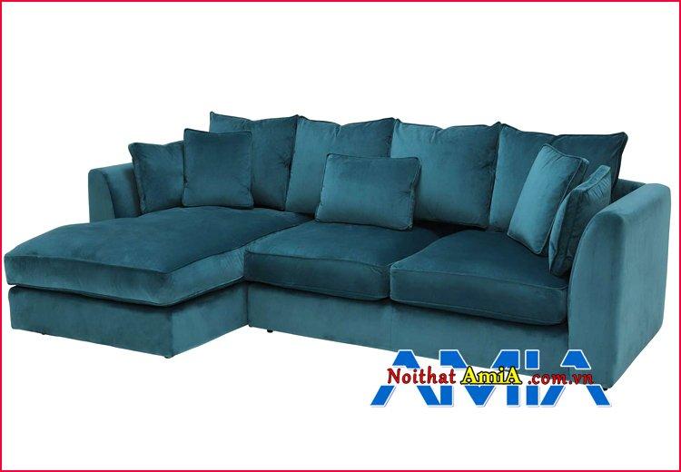 Hình ảnh ghế sofa nỉ chữ L xanh ngọc bích