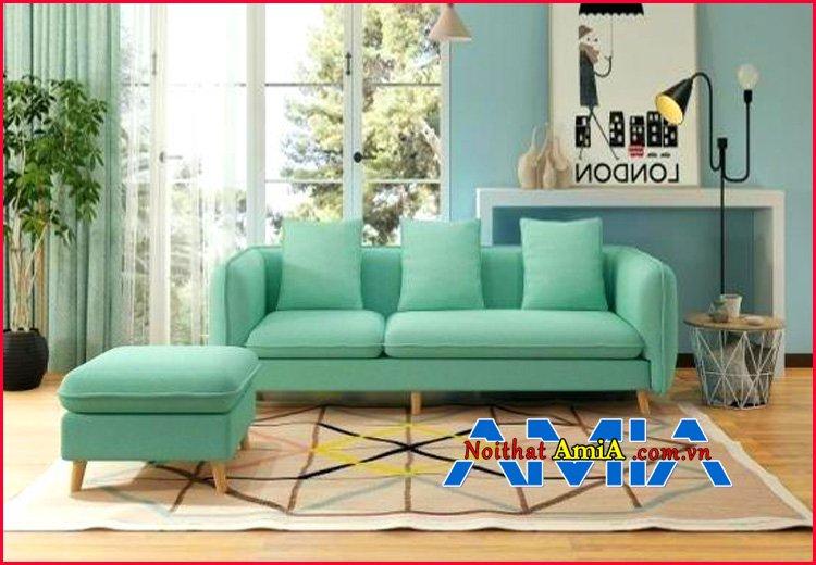 Hình ảnh ghế sofa nỉ màu xanh ngọc