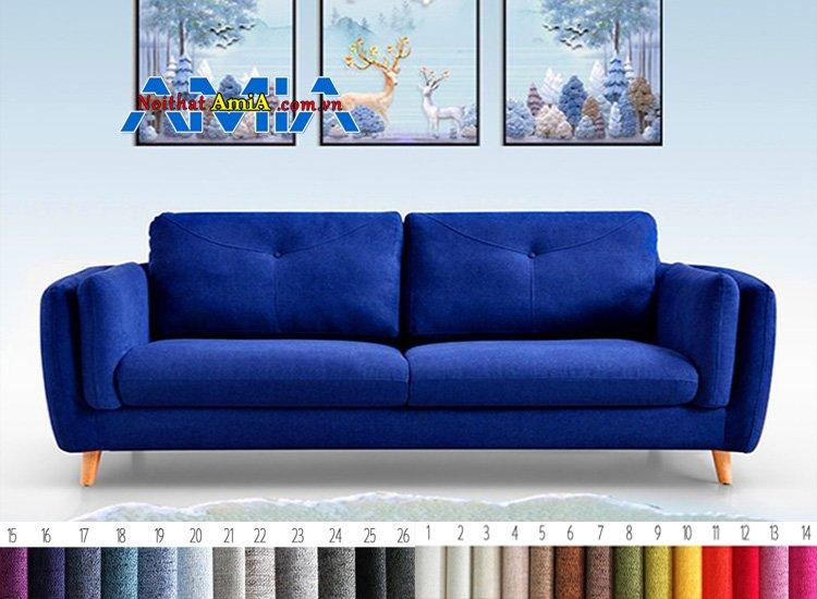 Ghế sofa chân gỗ cao màu xanh dương đẹp