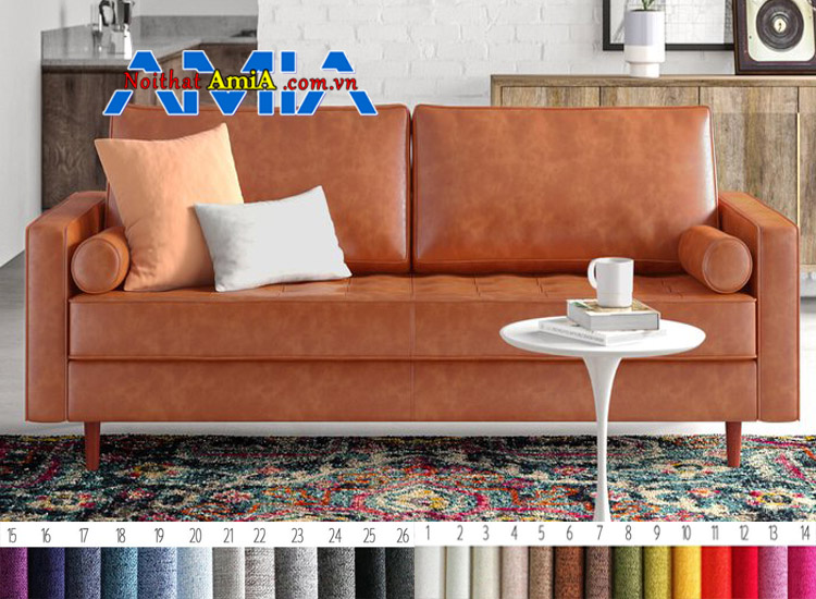 sofa da đẹp chân gỗ tròn