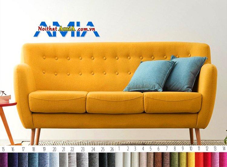 sofa chân gỗ cao màu vàng ấn tượng