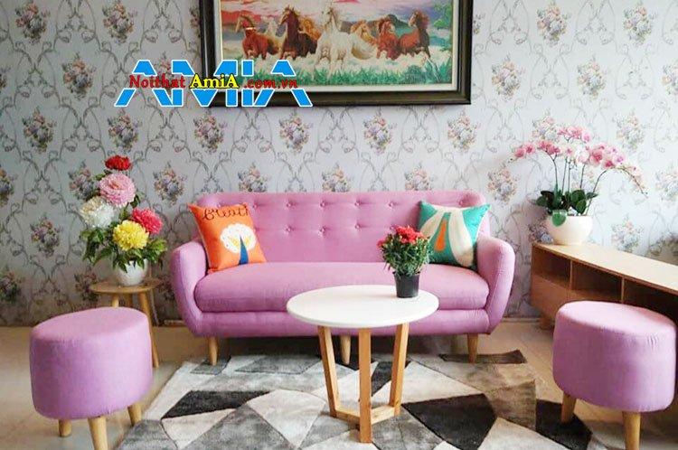 sofa vải nỉ đẹp màu hồng