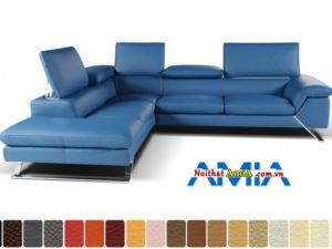 Mẫu ghế sofa góc da tựa gật gù đẹp cho phòng khách AmiA SFN199243