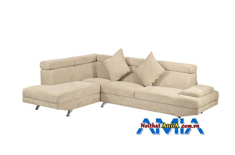 Sofa góc bọc nỉ màu be hiện đại