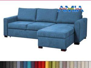 Ghế sofa nỉ hình L đẹp xanh dương AmiA SFN199242