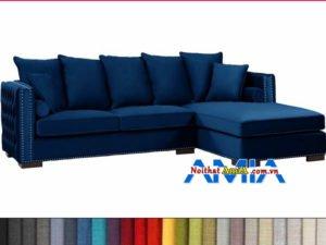 Hình ảnh mẫu sofa nỉ chữ L đẹp màu xanh dương AmiA SFN199246