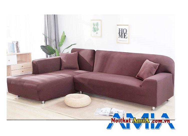 Ghế sofa chữ L bọc nỉ màu tím đẹp