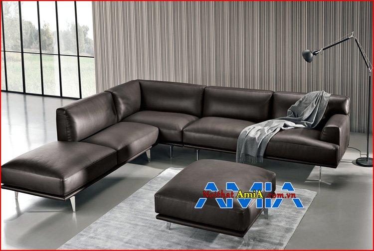 sofa chân Inox phòng khách hiện đại bọc da màu đen