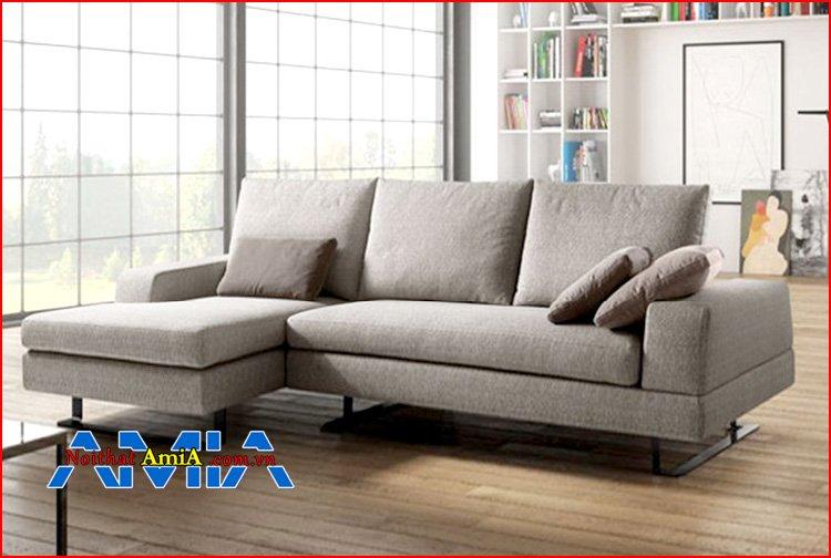 sofa chữ L phòng khách chân Inox hiện đại