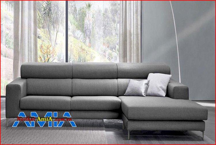 sofa da phòng khách chân thép không gỉ siêu bền đẹp