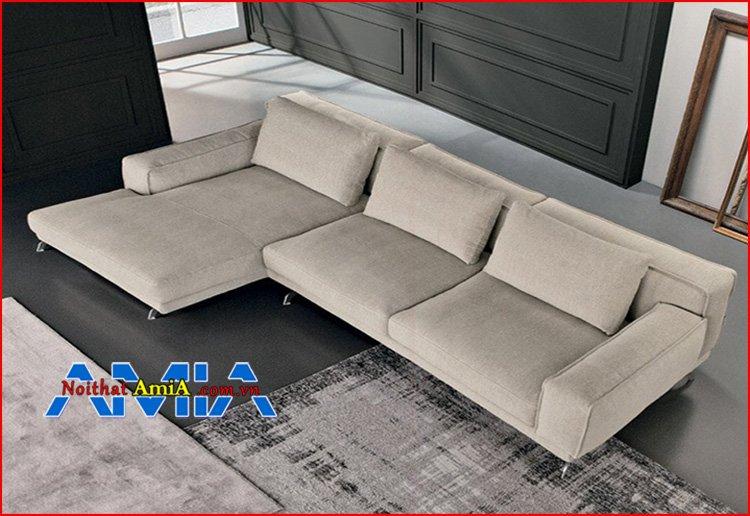 sofa hiện đại màu kem chân Inox chụp từ trên cao xuống