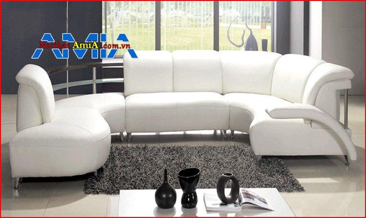 sofa phòng khách chung cư chân Inox tròn