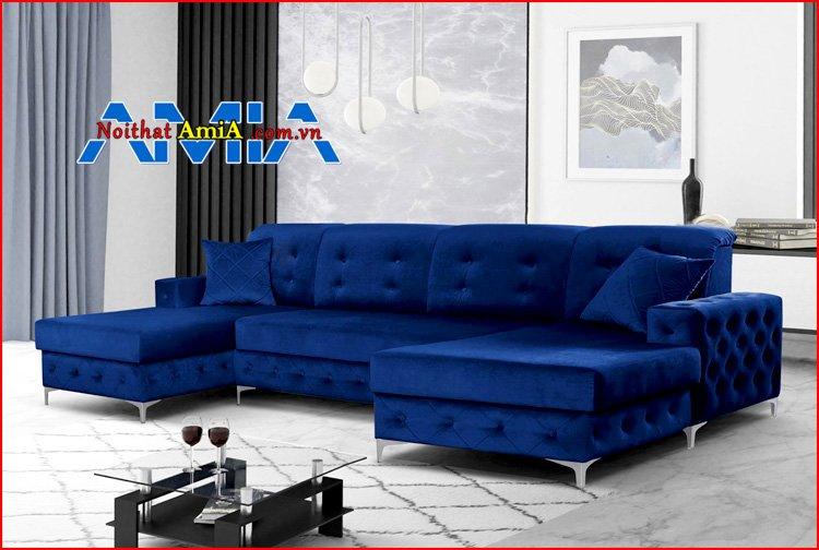 sofa tân cổ điển chân Inox góc chữ U