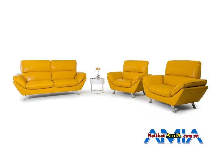 Bộ bàn ghế sofa hiện đại màu da bò sang trọng