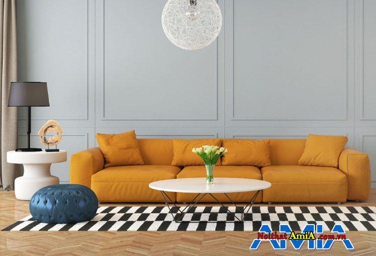 Mẫu sofa văng 3 chỗ màu da bò mới nhất hiện nay
