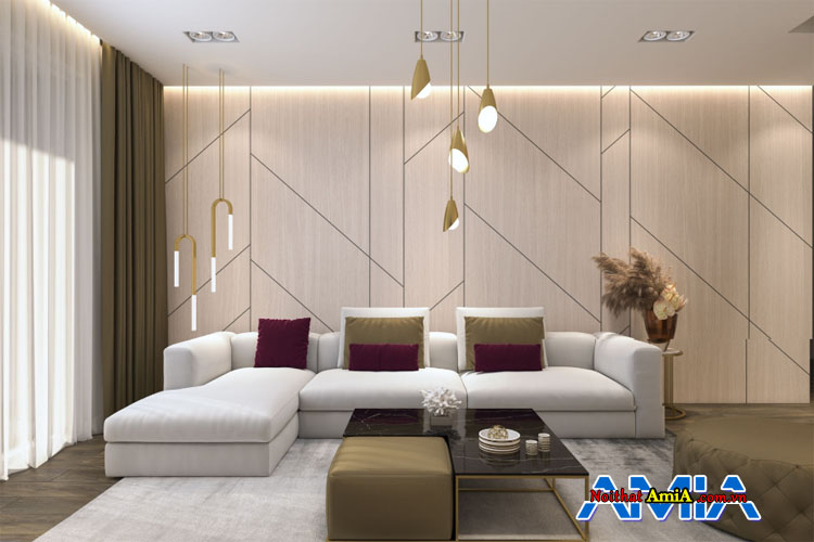 Mẫu sofa chữ L màu be đẹp sử dụng kê phòng khách hiện đại
