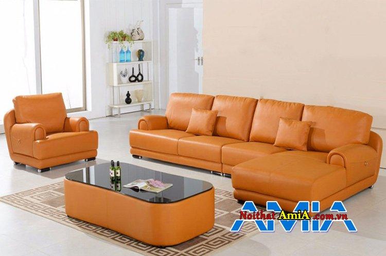 Bàn ghế sofa góc da đẹp phòng khách
