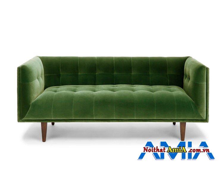 Ghế sofa bọc nỉ dày dặn xung quanh ghế được may rút khuy cách điệu