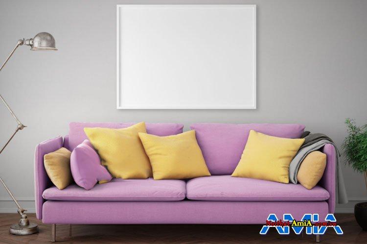 Hình ảnh mẫu ghế sofa màu tím đẹp thiết kế dạng văng 2 chỗ