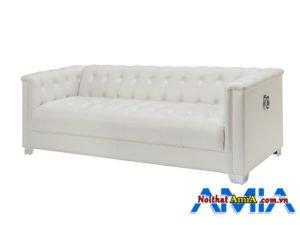 Mẫu bàn ghế sofa màu trắng sữa dạng văng