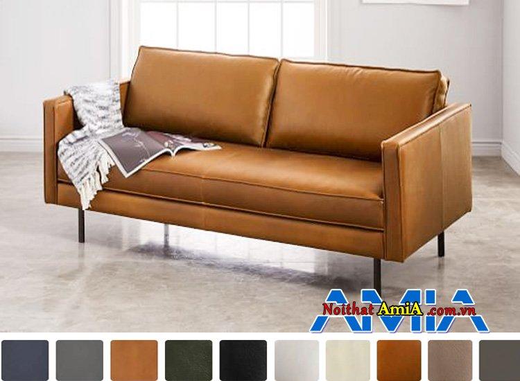 mẫu ghế sofa văng da microfiber màu vàng nâu