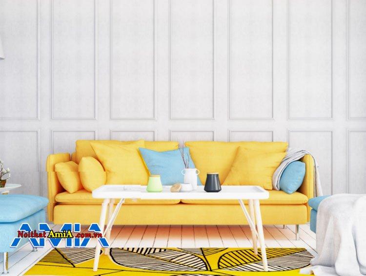 Mẫu ghế sopha bọc nỉ màu vàng nhạt xịn