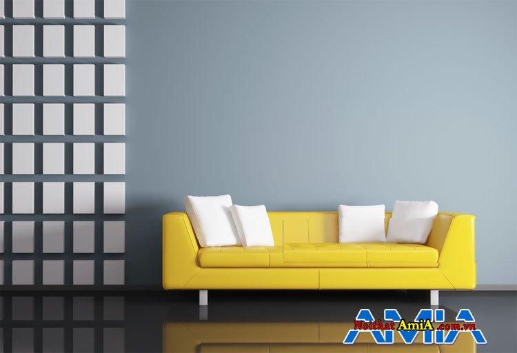 Mẫu ghế nỉ thiết kế dạng văng màu vàng hiện đại