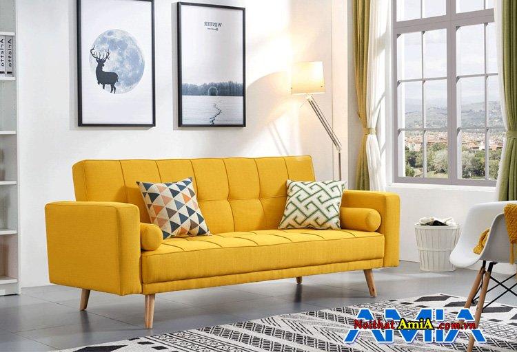 Hình ảnh mẫu ghế sofa màu vàng đẹp thiết kế dạng văng