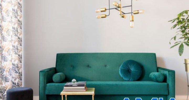 Hình ảnh bàn ghế sofa dạng văng màu xanh rêu đẹp hiện đại