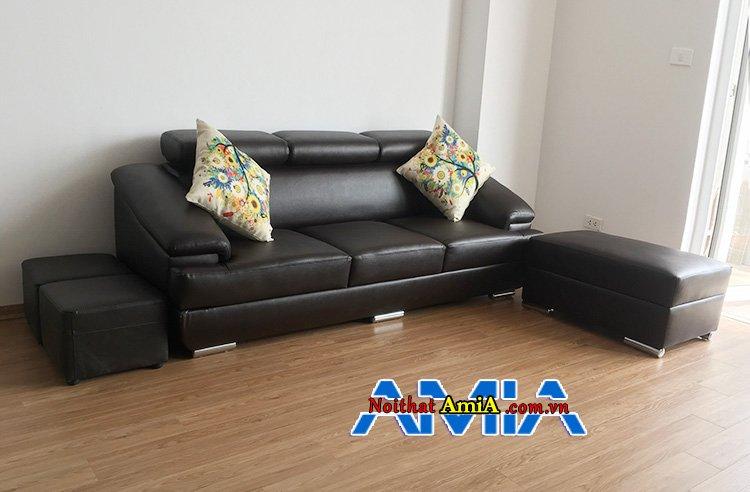 Mẫu ghế sofa da 3 chỗ kích thước 2m1 tại nhà khách